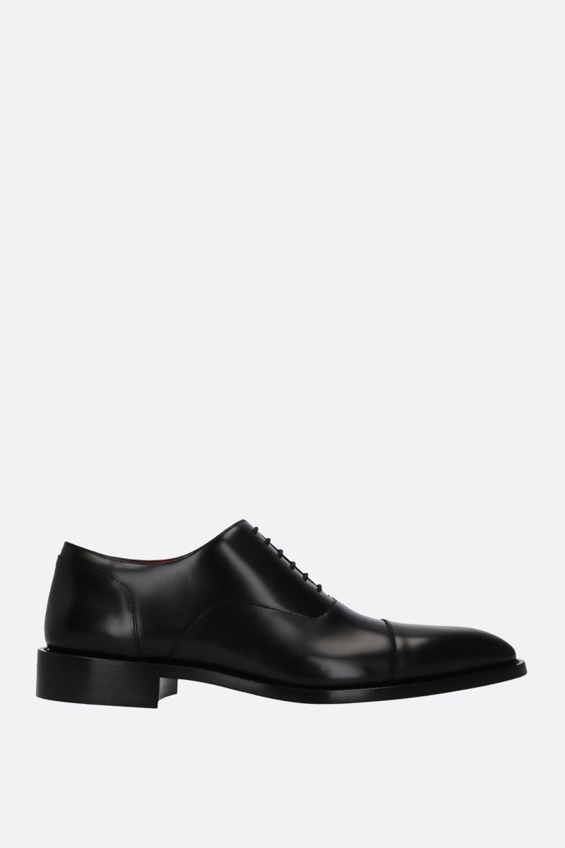 BALENCIAGA: brushed leather oxford shoes Color Black_1
