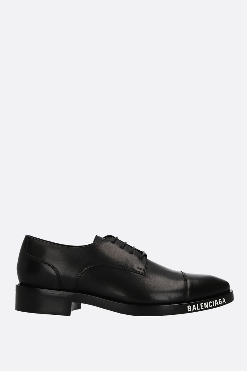 BALENCIAGA: brushed leather derby shoes Color Black_1