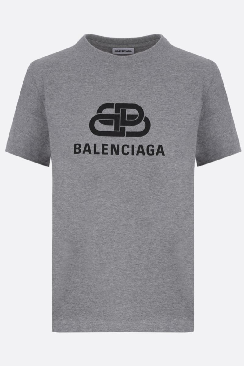 BALENCIAGA: BB logo print cotton t-shirt Color Grey_1