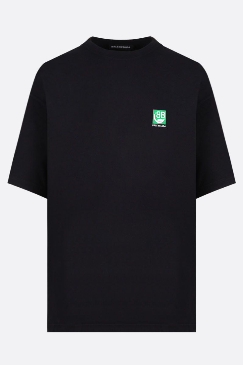 BALENCIAGA: Green Logo print cotton t-shirt Color Black_1