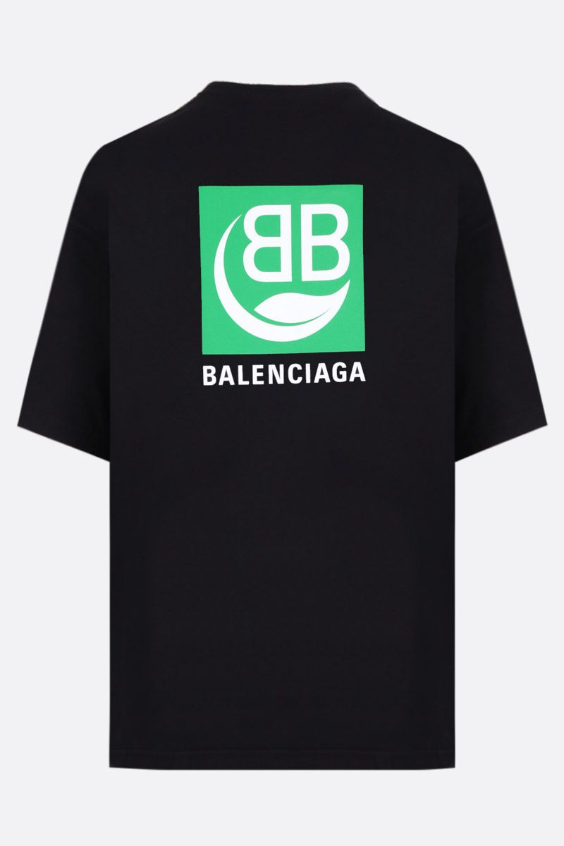 BALENCIAGA: Green Logo print cotton t-shirt Color Black_2