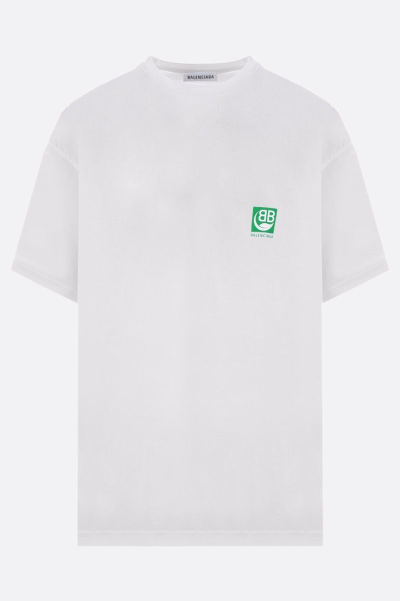 BALENCIAGA: Green Logo print cotton t-shirt Color White_1