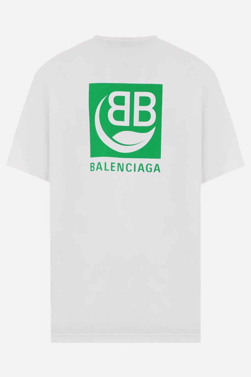 BALENCIAGA: Green Logo print cotton t-shirt Color White_2