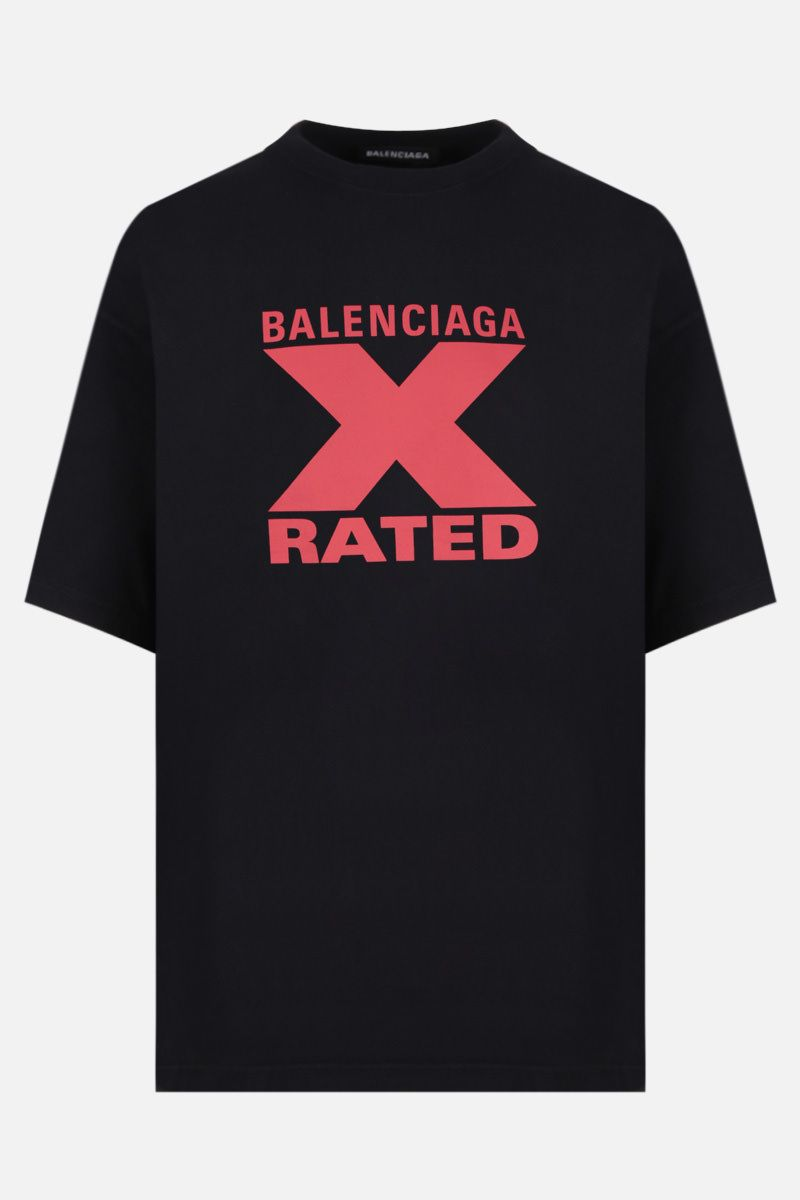 BALENCIAGA: X-Rated print cotton oversized t-shirt Color Black_1