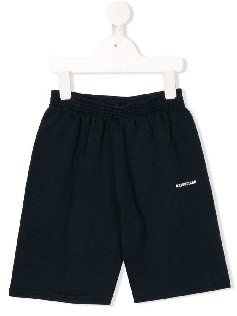 BALENCIAGA KIDS: logo print cotton shorts Color Blue_1