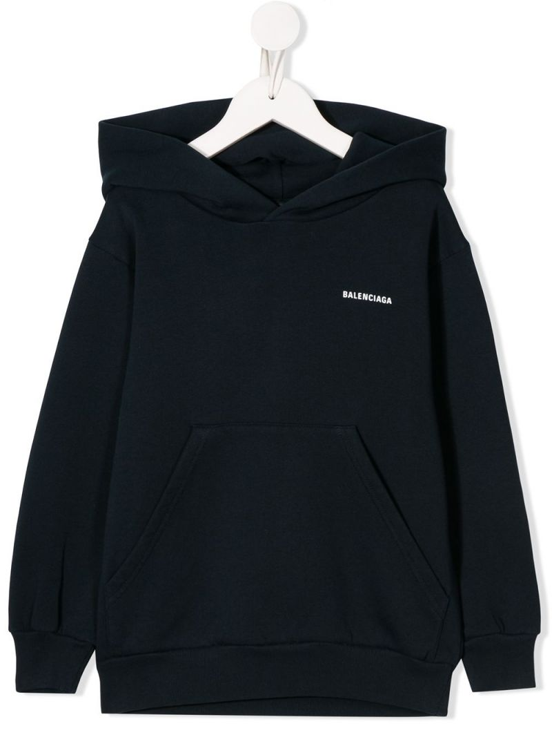 BALENCIAGA KIDS: logo print cotton hoodie Color Blue_1