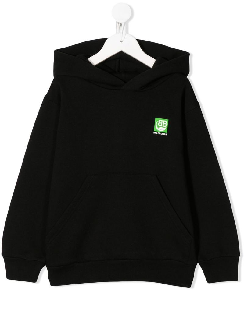 BALENCIAGA KIDS: Green Logo print cotton hoodie Color Black_1