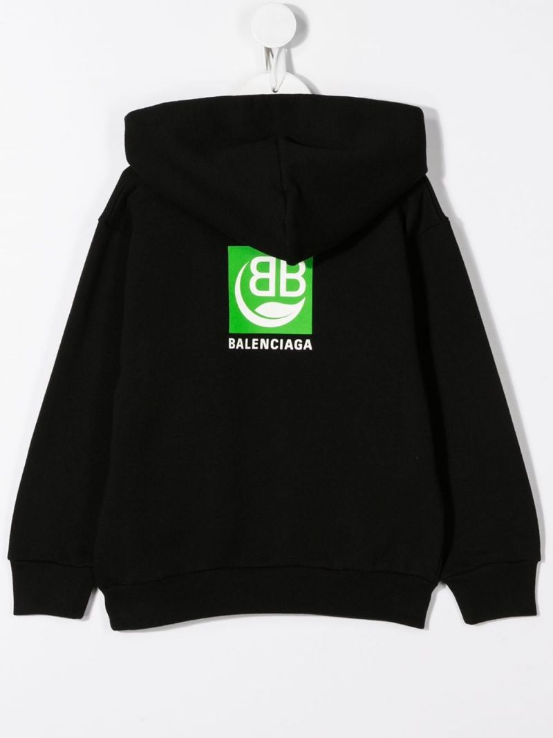 BALENCIAGA KIDS: Green Logo print cotton hoodie Color Black_2