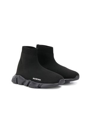 BALENCIAGA KIDS: Speed stretch knit sneakers Color Black_1