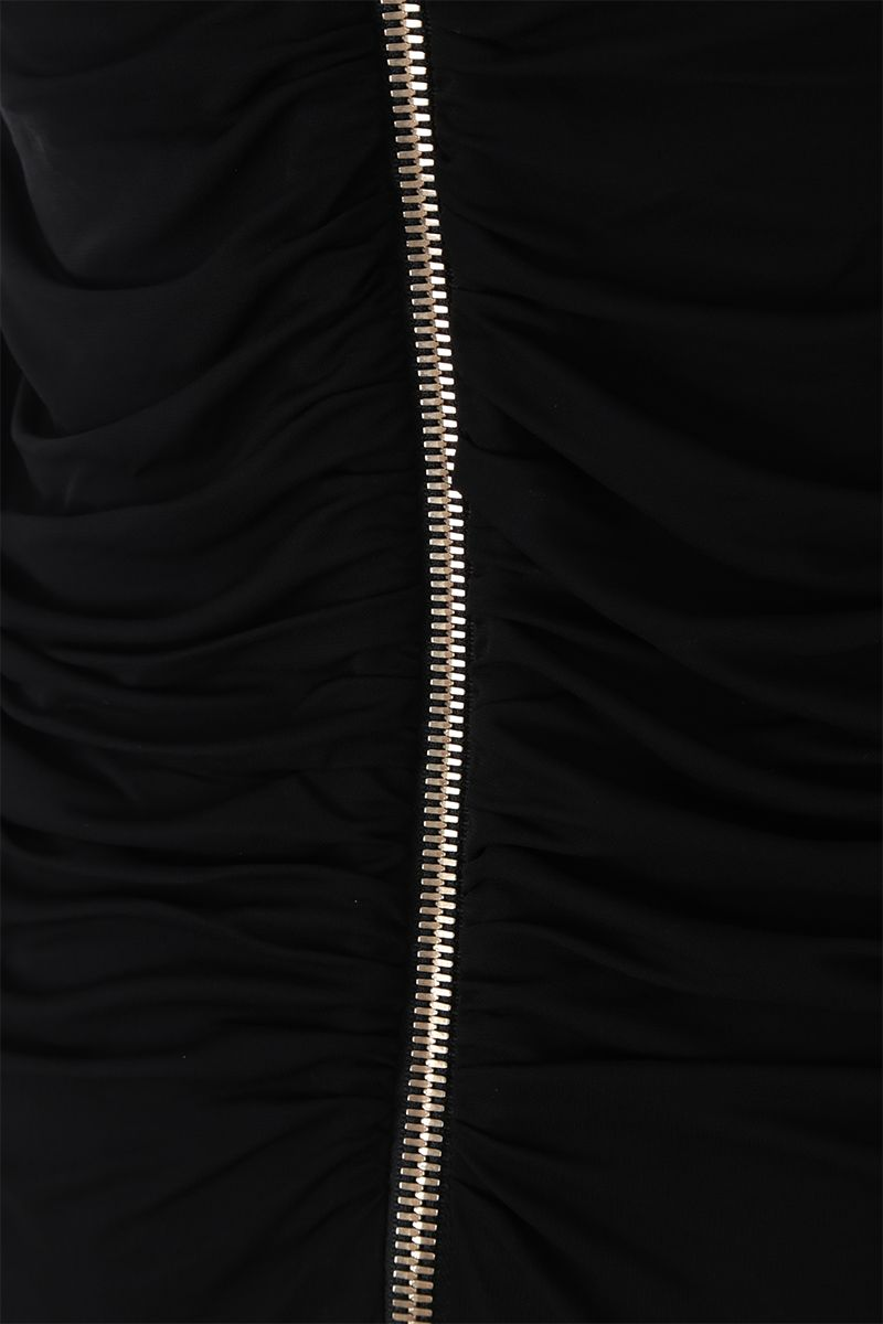 BALMAIN: stretch jersey and sequins long dress Color Black_5