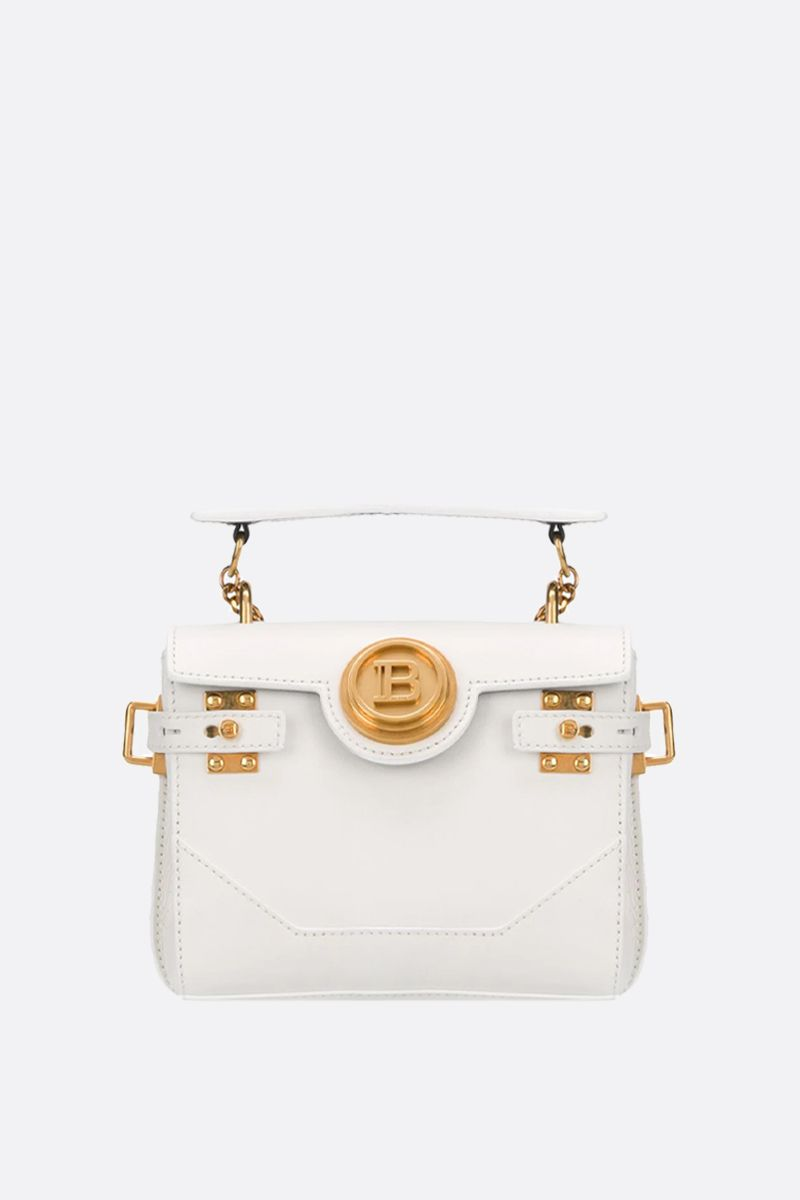 BALMAIN: B-Buzz 18 smooth leather backpack Color White_1