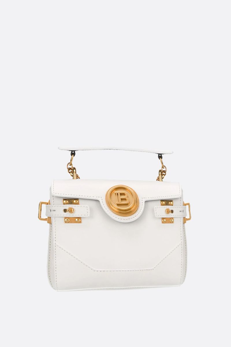 BALMAIN: B-Buzz 18 smooth leather backpack Color White_2