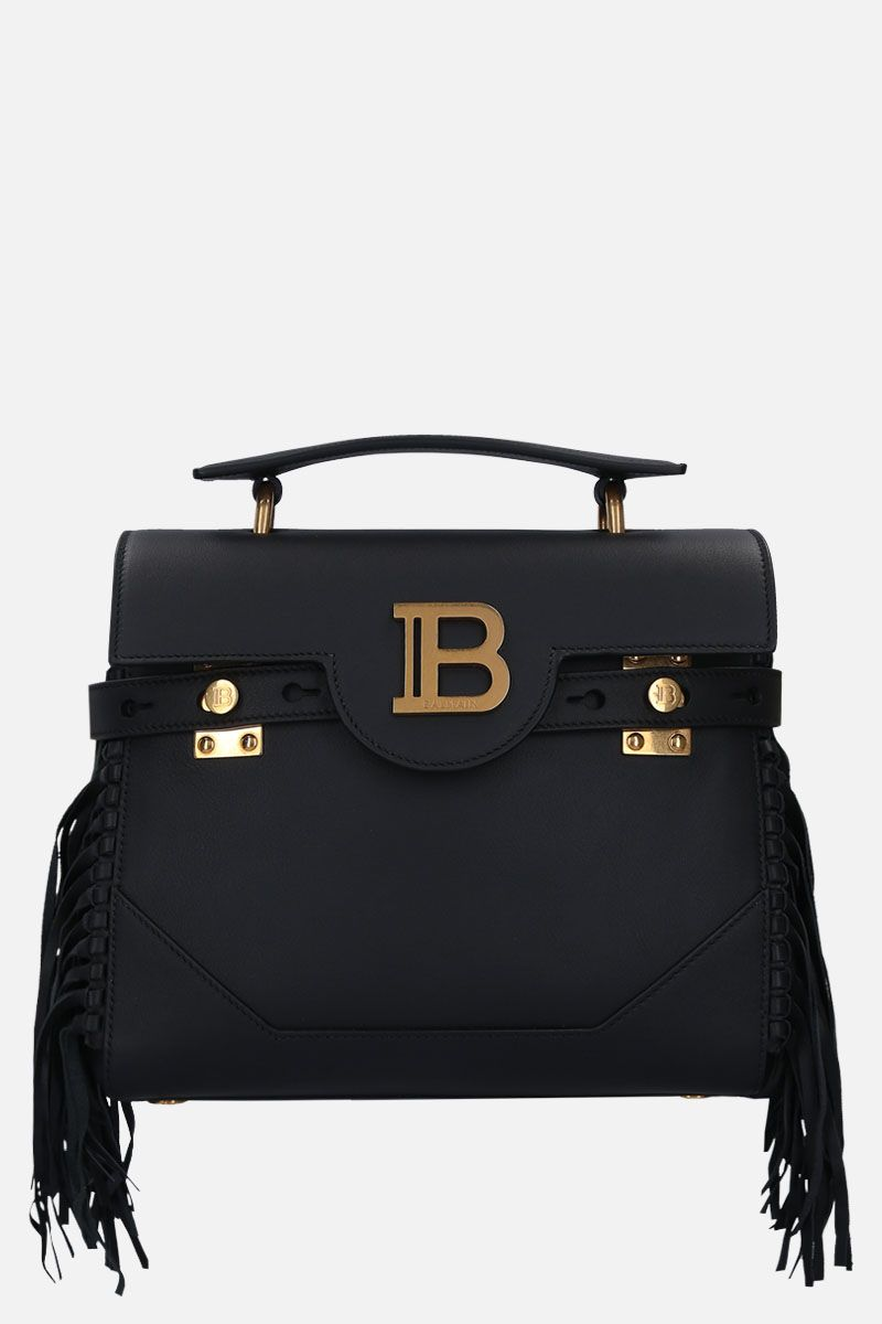 BALMAIN: B-Buzz 23 handbag in smooth leather with fringed detailing Color Black_1