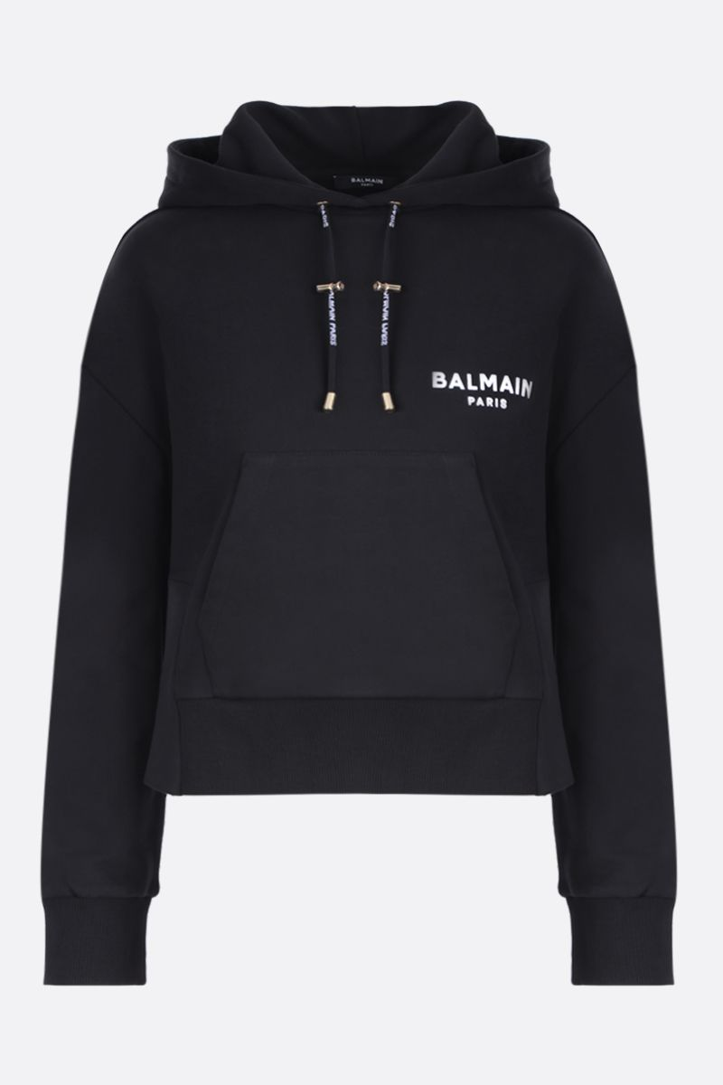 BALMAIN: cotton hoodie with logoed details Color Black