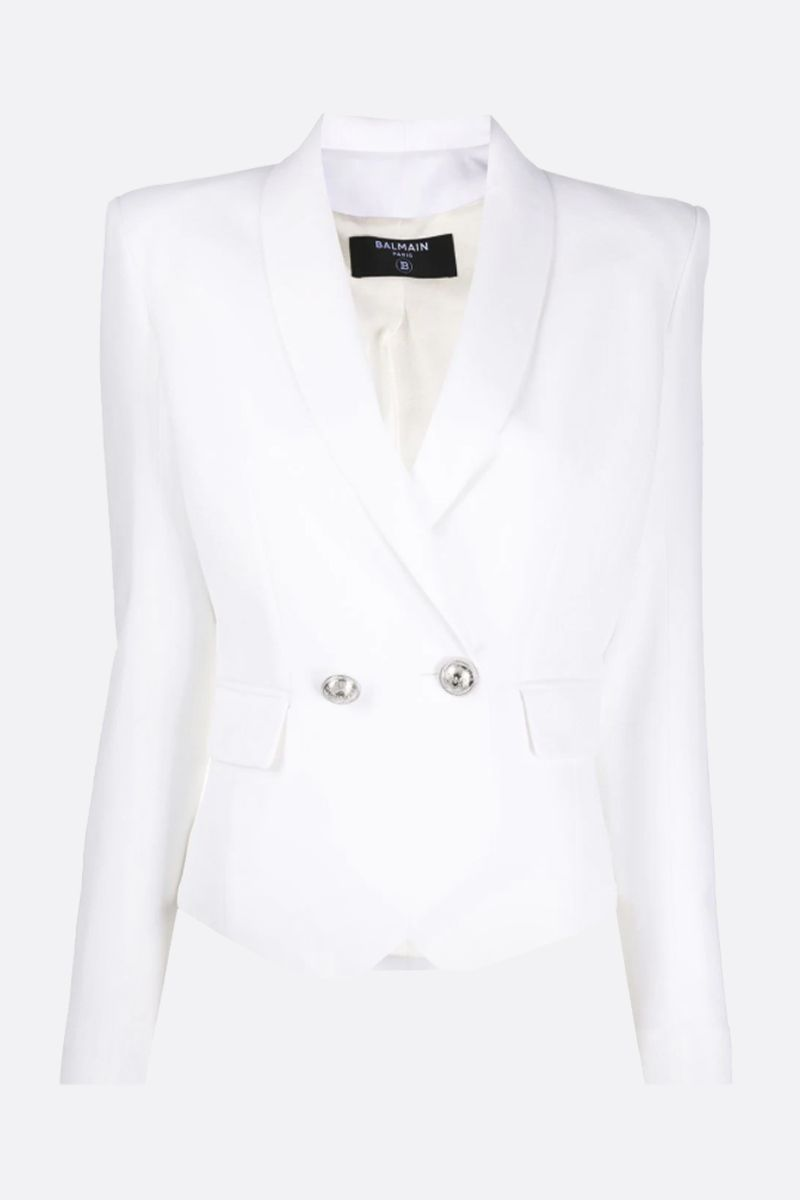 BALMAIN: wool blend double-breasted jacket Color White_1