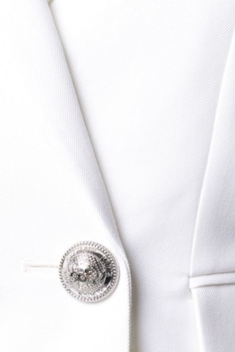 BALMAIN: wool blend double-breasted jacket Color White_2