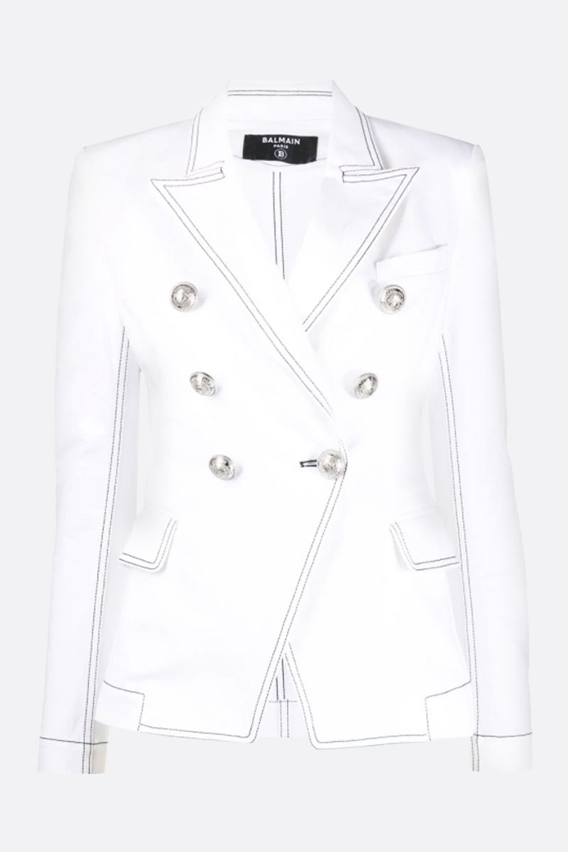 BALMAIN: stretch denim double-breasted jacket Color White_1