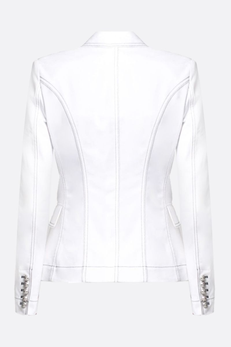 BALMAIN: stretch denim double-breasted jacket Color White_2