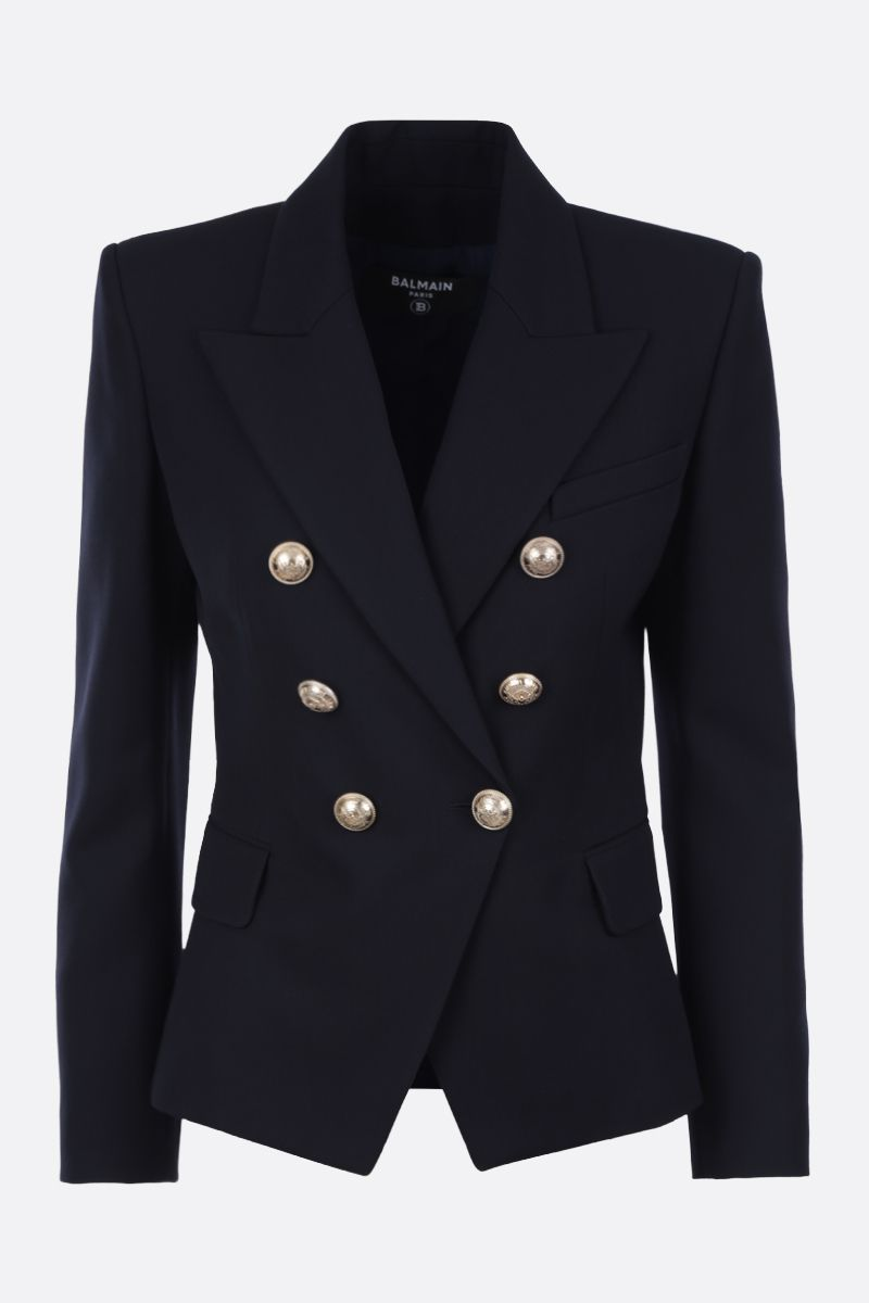 BALMAIN: wool blend double-breasted jacket Color Blue_1