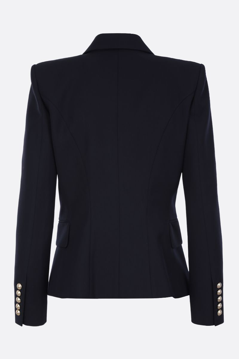 BALMAIN: wool blend double-breasted jacket Color Blue_2