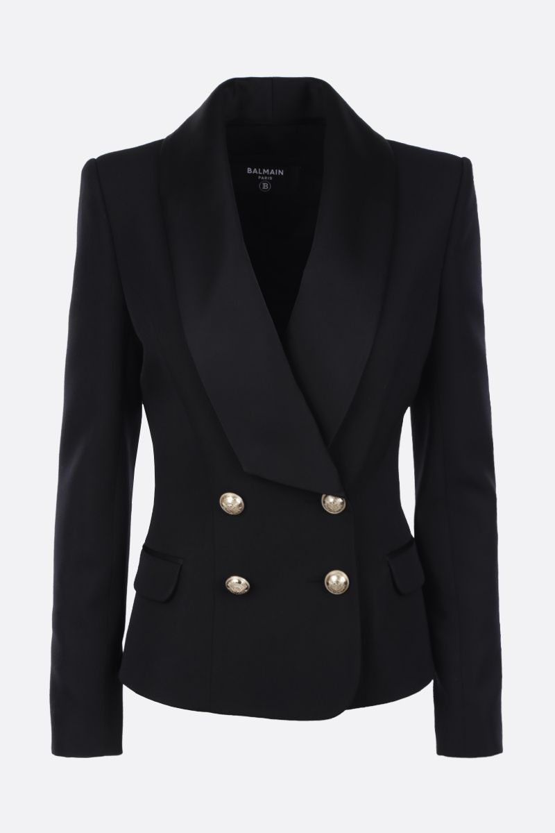 BALMAIN: satin-detailed wool double-breasted jacket Color Black_1