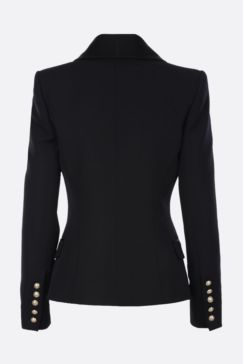 BALMAIN: satin-detailed wool double-breasted jacket Color Black_2