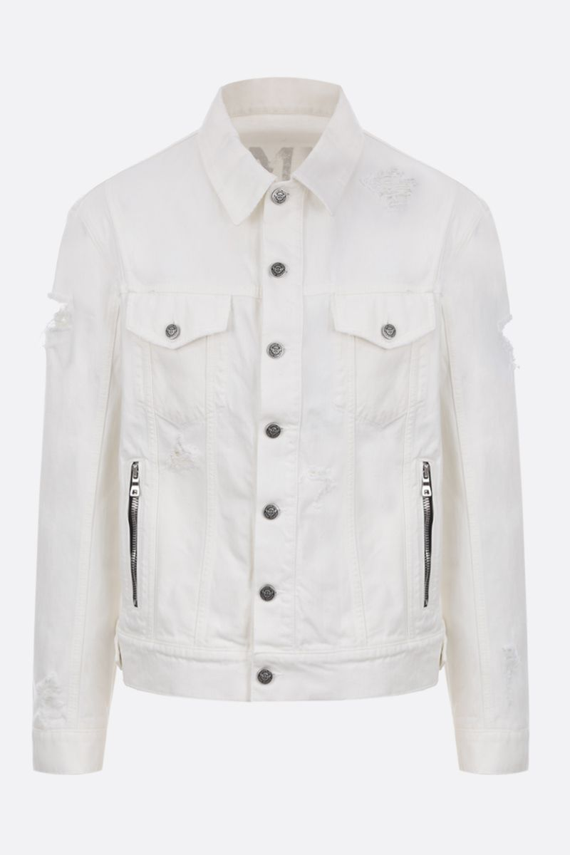BALMAIN: Balmain logo print denim jacket Color White_1