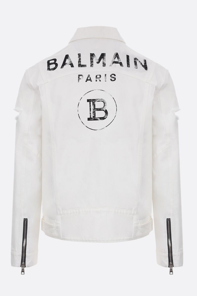 BALMAIN: Balmain logo print denim jacket Color White_2