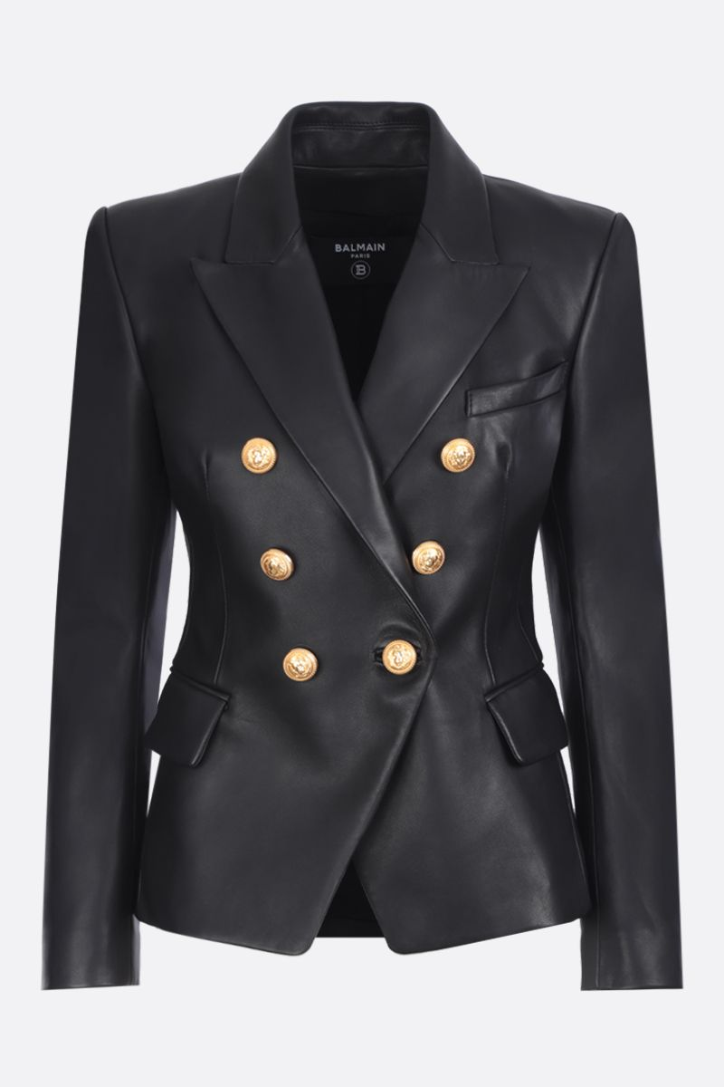 BALMAIN: nappa leather single-breasted jacket Color Black_1
