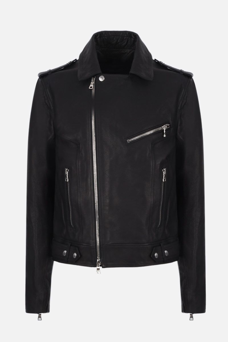 BALMAIN: Balmain logo print leather biker jacket Color Black_1