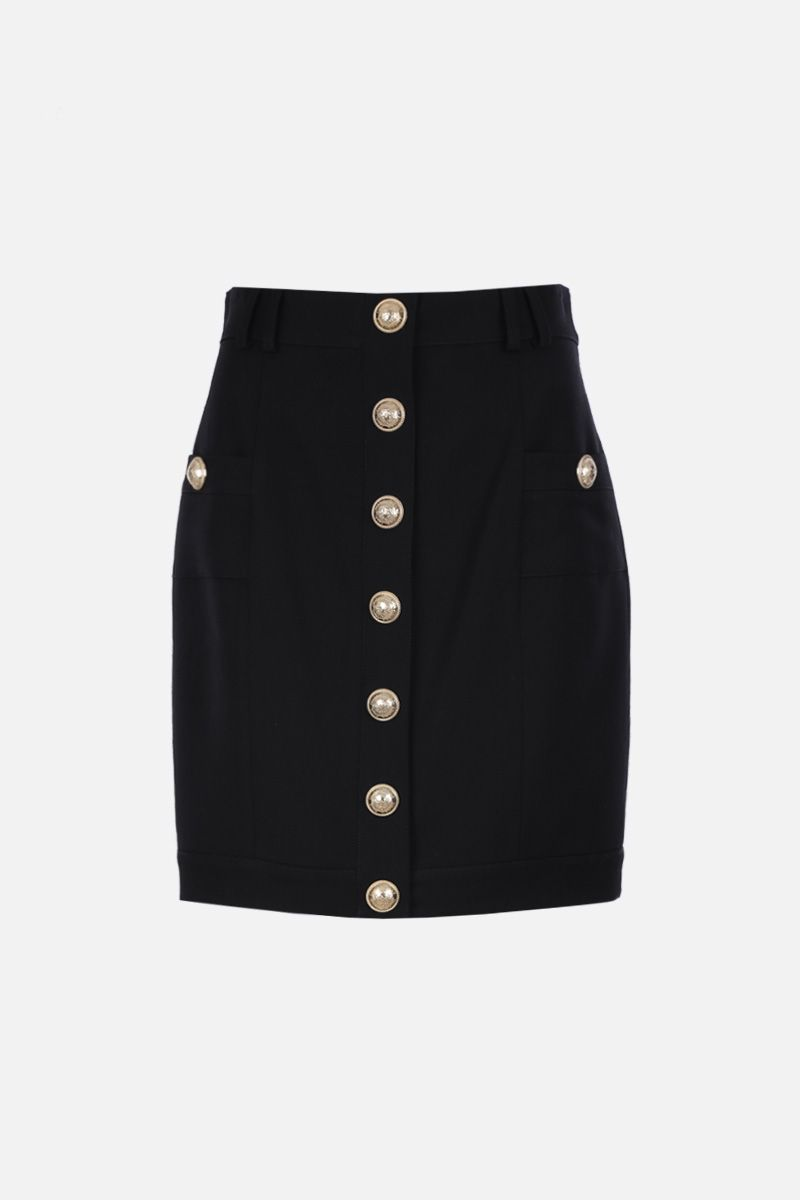BALMAIN: wool miniskirt with decorative buttons Color Black_1