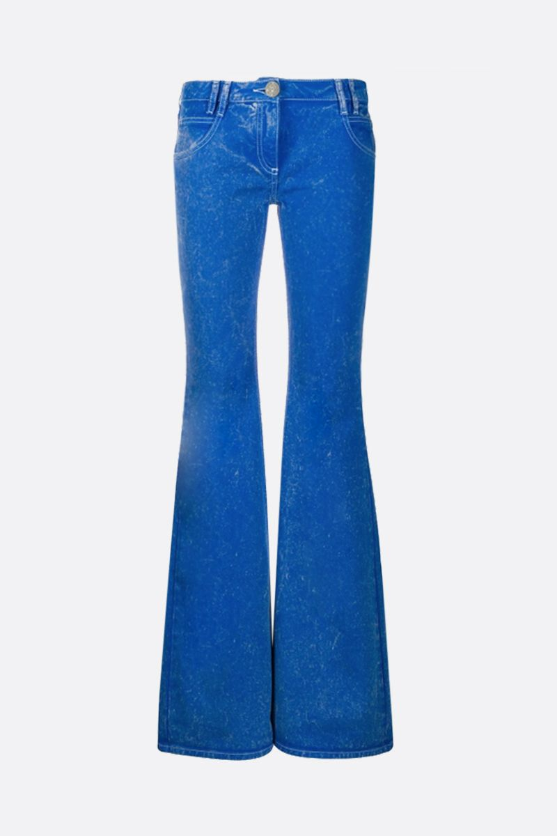 BALMAIN: logo embroidered flare jeans_1