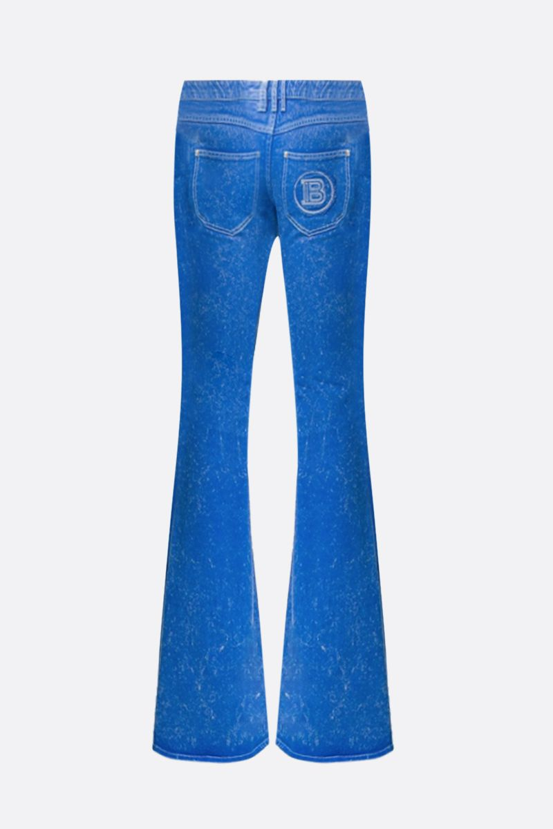 BALMAIN: logo embroidered flare jeans_2