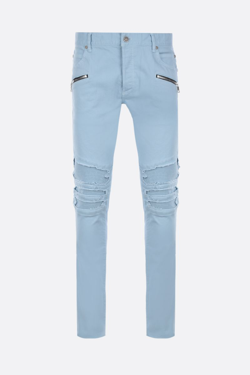 BALMAIN: slim-fit biker jeans Color Blue_1
