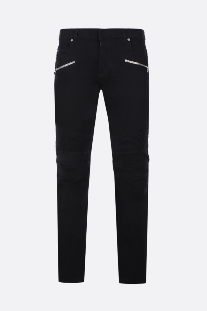 BALMAIN: slim jeans with biker details Color Black_1