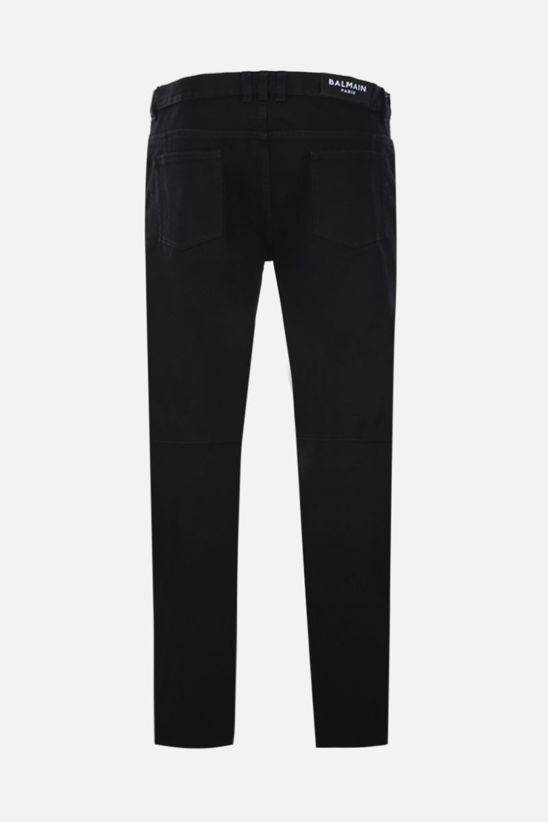 BALMAIN: slim jeans with biker details Color Black_2