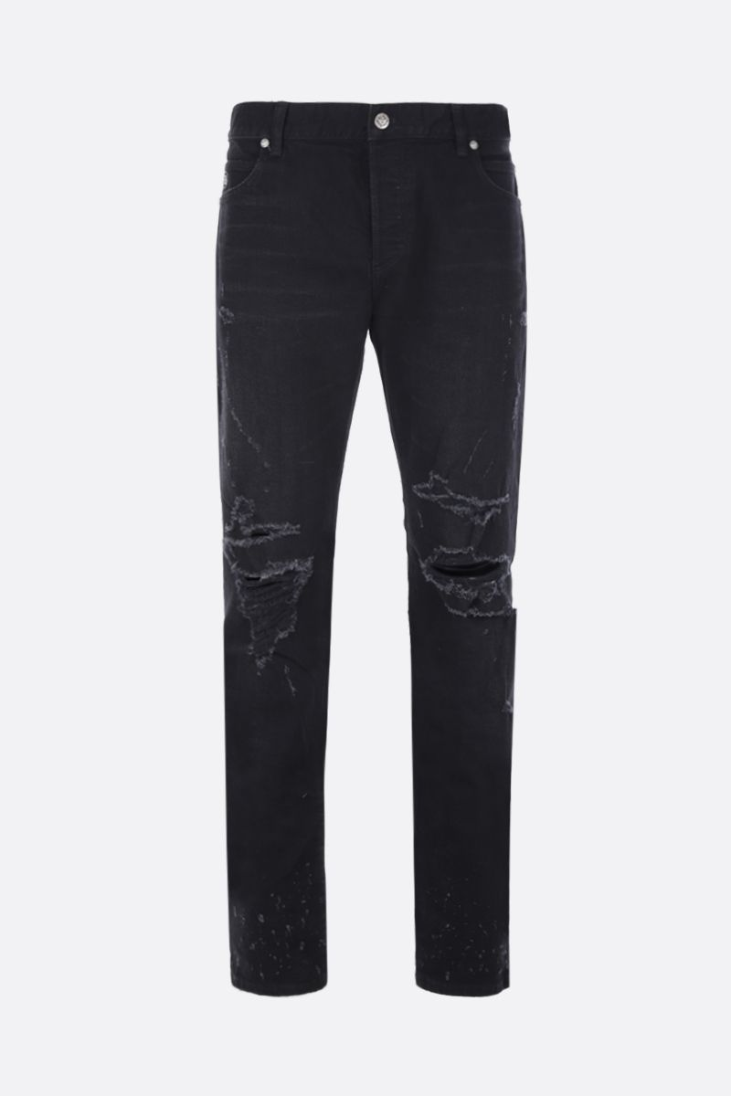 BALMAIN: tapered-fit jeans with distressed effect Color Black_1