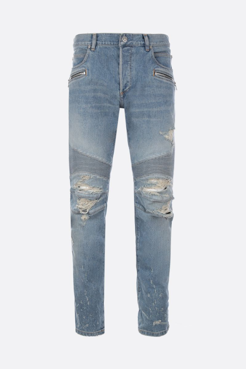 BALMAIN: tapered jeans with biker details Color Blue_1