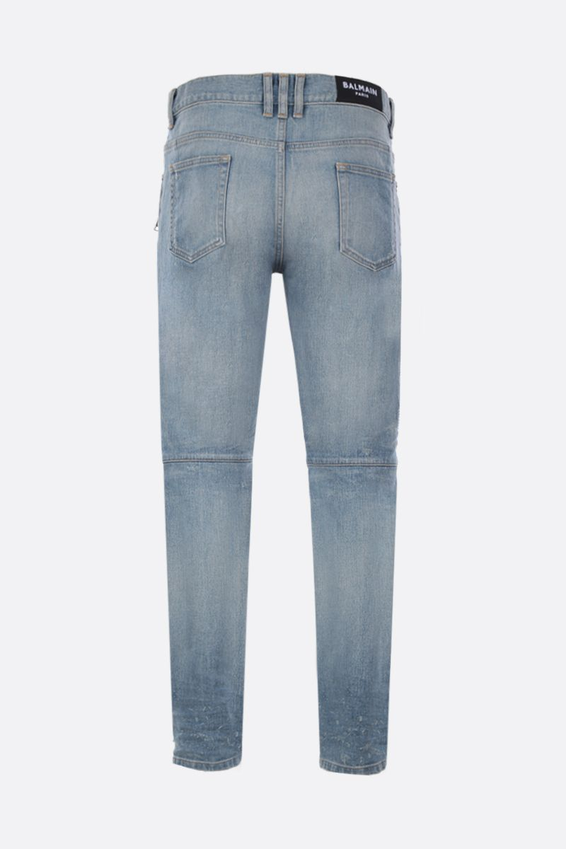BALMAIN: tapered jeans with biker details Color Blue_2