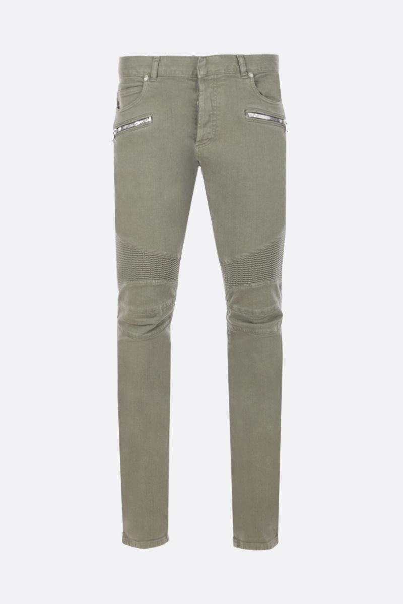 BALMAIN: slim-fit jeans with biker details Color Brown_1