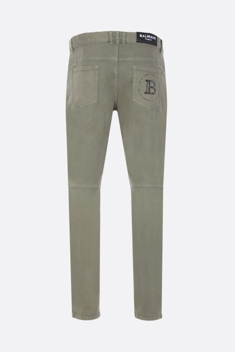 BALMAIN: slim-fit jeans with biker details Color Brown_2