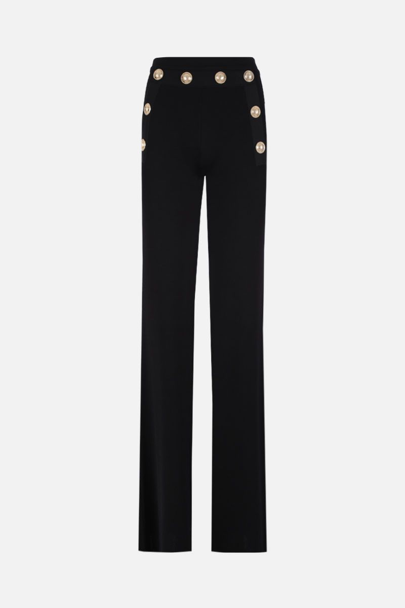 BALMAIN: stretch knit flare pants with decorative buttons Color Black_1