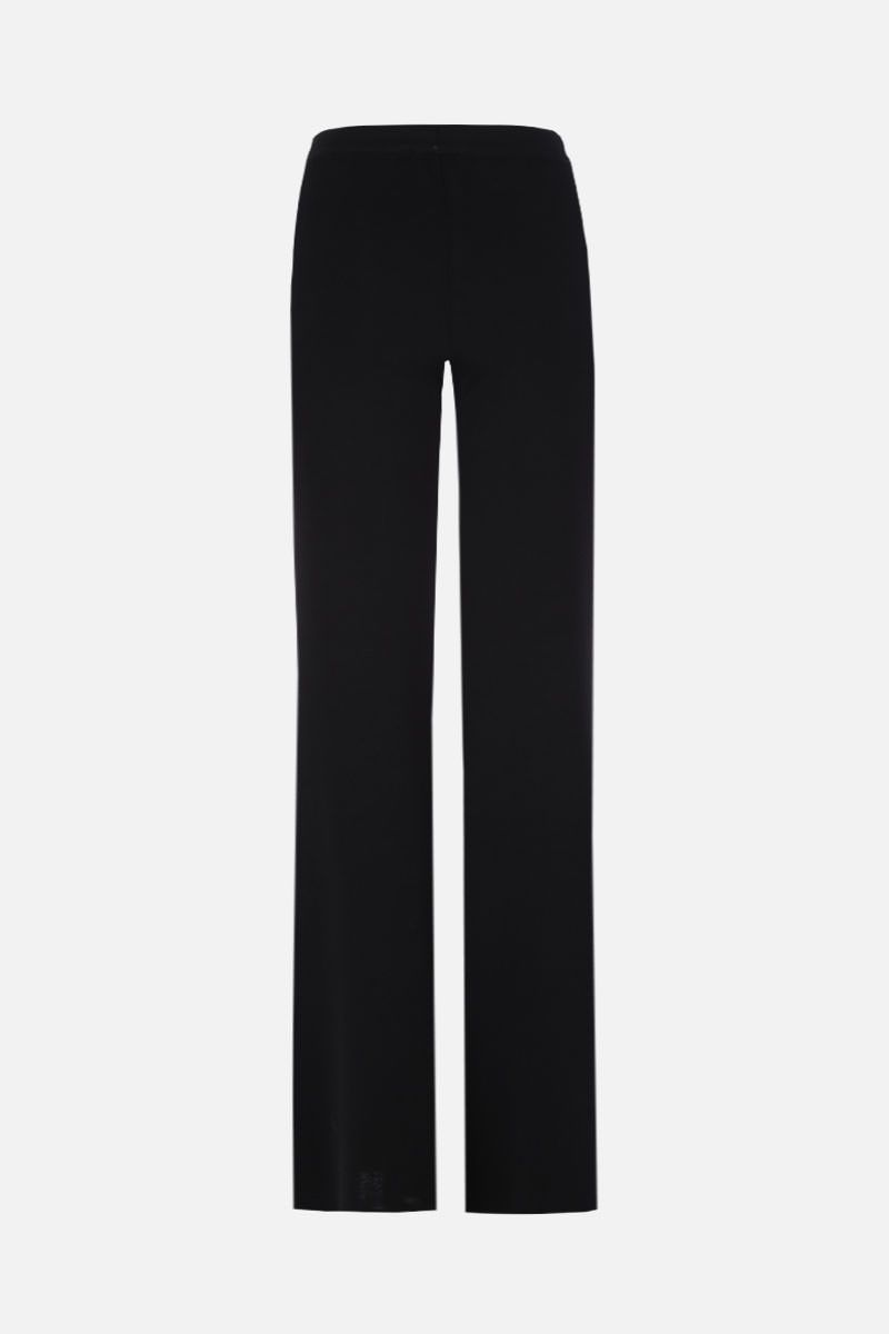 BALMAIN: stretch knit flare pants with decorative buttons Color Black_2