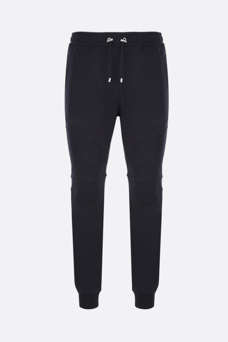 BALMAIN: cotton joggers with Balmain logo print Color Black_1