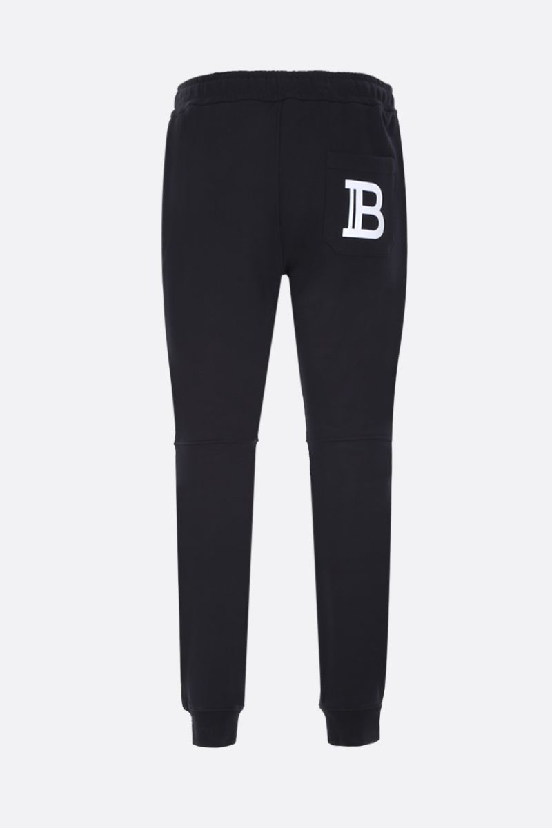 BALMAIN: cotton joggers with Balmain logo print Color Black_2