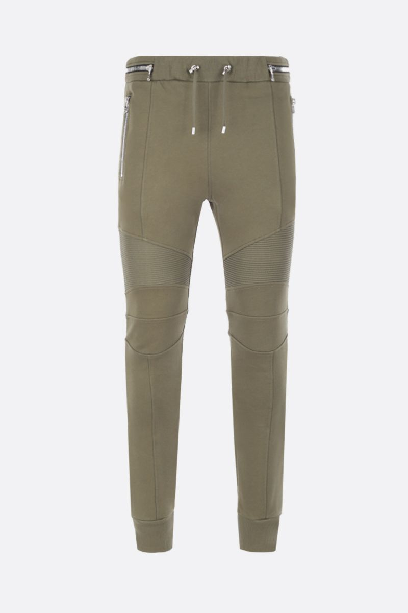 BALMAIN: Balmain logo print cotton joggers Color Brown_1