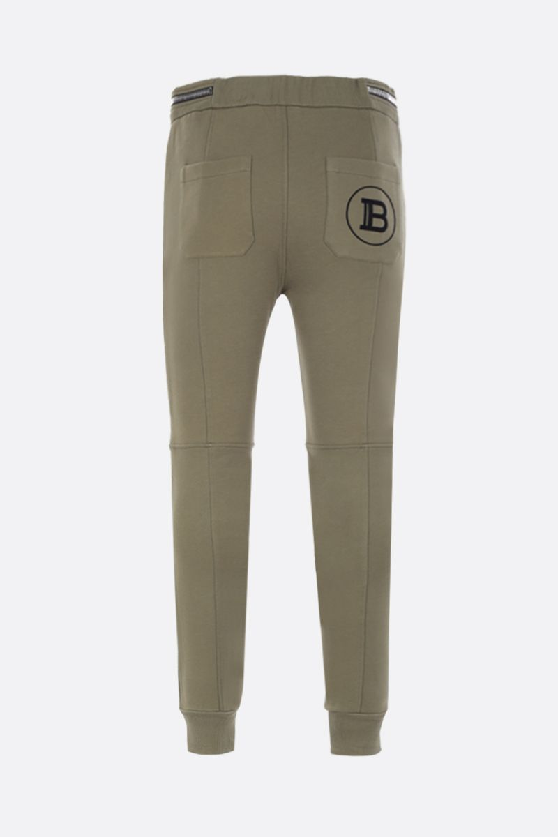 BALMAIN: Balmain logo print cotton joggers Color Brown_2