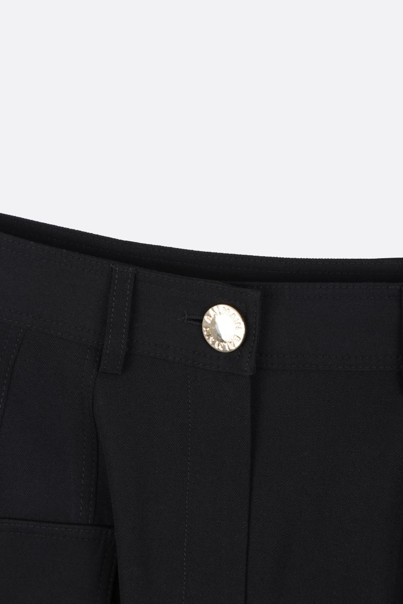 BALMAIN: wool cargo shorts Color Black_3