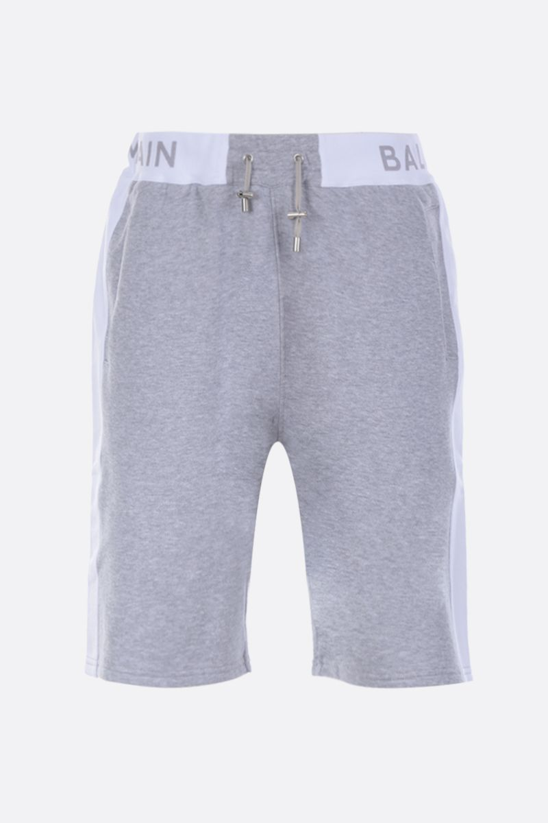 BALMAIN: logo print cotton shorts Color Grey_1