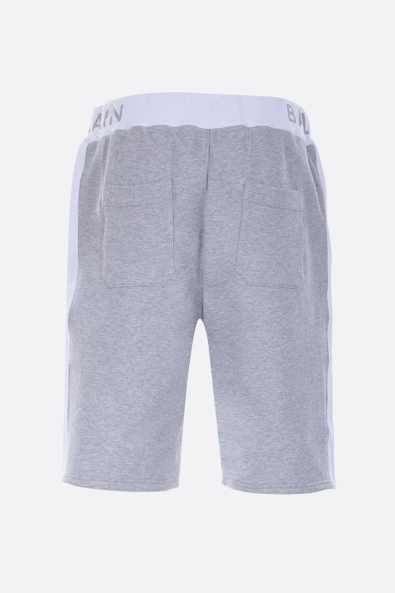 BALMAIN: logo print cotton shorts Color Grey_2